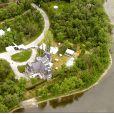 Vue aérienne de l'ancien manoir de Céline Dion sur l'île Gagnon, à Laval au Québec.