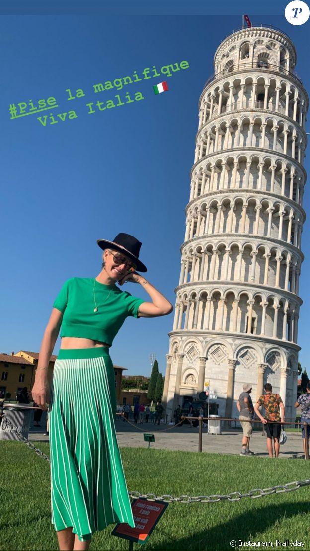 Laeticia Hallyday en voyage à Pise, en Toscane, en Italie, le 27 juin 2020.