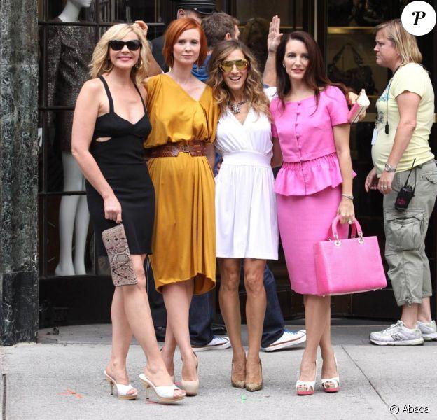 Sarah Jessica Parker, Cynthia Nixon, Kristin Davis et Kim Cattrall sur le tournage de Sex and The City 2 à New York