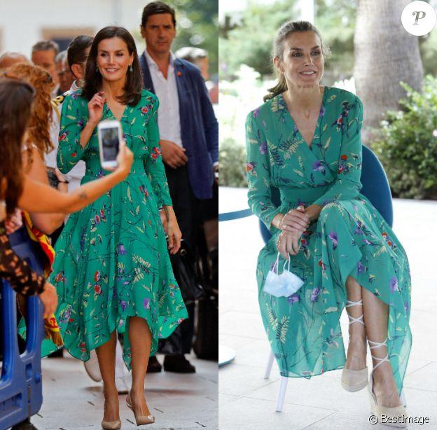 Letizia d'Espagne dans sa robe Maje : à Oviedo, le 25 juillet 2019, et le 24 juin 2020 à Playa de Palma.
