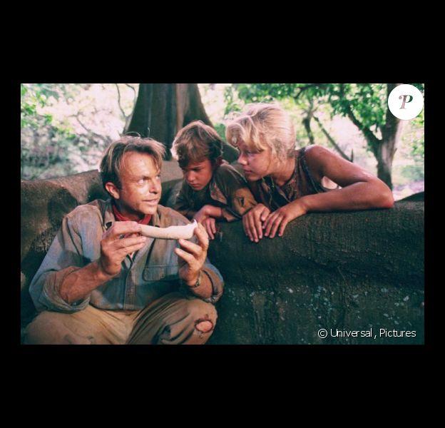 "Image du film ""Jurassic Park"" avec Ariana Richards, Joseph Mazzello et Sam Neil. 1993."