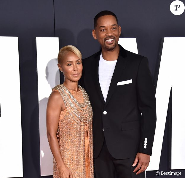 "Will Smith et sa femme Jada Pinkett Smith à l'avant-première du film ""Gemini Man"" au cinéma Chinese Theatre à Los Angeles, Californie, Etats-Unis, le 6 octobre 2019."