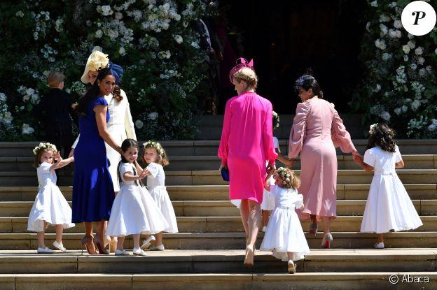 Kate Middleton, Jessica Mulroney (en bleu) et les demoiselles d'honneur lors du mariage du prince Harry et Meghan Markle au château de Windsor, le 19 mai 2018.