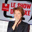 """Véronique Genest participe à l'émission """"Le show de Luxe"""" sur la radio Voltage à Paris le 8 octobre 2018. © Philippe Baldini/bestimage"""