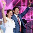 Justin Trudeau, sa femme Sophie Grégoire, leur fille Ella-Grace Margaret et leur fils Xavier James - Célébration du 150e anniversaire du Canada à Ottawa. Le 1er juillet 2017.
