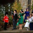 Thomas Brooksbank, Sarah Ferguson, la princesse Beatrice d'York - Sorties après la cérémonie de mariage de la princesse Eugenie d'York et Jack Brooksbank en la chapelle Saint-George au château de Windsor le 12 octobre 2018.