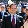 Patrick J. Adams et sa femme Troian Bellisario - Les invités arrivent à la chapelle St. George pour le mariage du prince Harry et de Meghan Markle au château de Windsor, Royaume Uni, le 19 mai 2018.