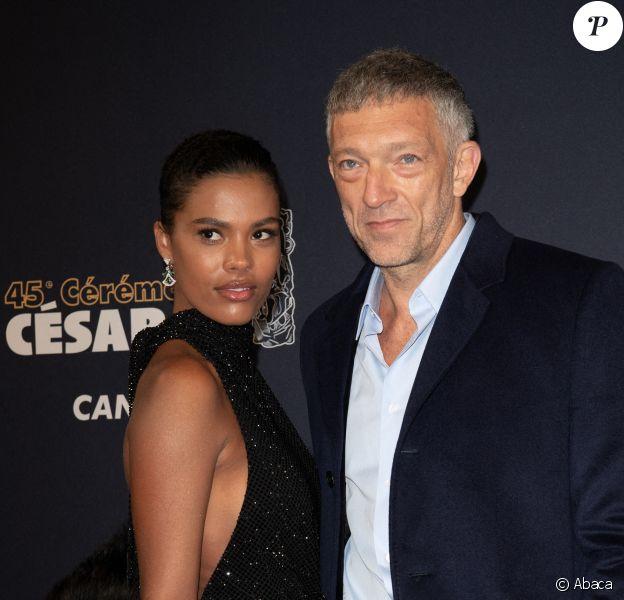Tina Kunakey et Vincent Cassel aux Césars, le 28 février 2020.