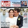 """Line Papin et Marc Lavoine se marient à Paris, le 25 juillet 2020. Une de """"Paris Match"""" consacrée à leur union, le mercredi 5 août 2020."""