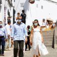 Felipe et Letizia d'Espagne en visite à Minorque, le 13 août 2020.