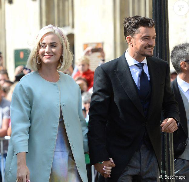 Katy Perry et son fiancé Orlando Bloom - Les invités arrivent au mariage de E. Goulding et C.Jopling en la cathédrale d'York.