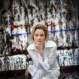 Delphine Boël, fille illégitime supposée du roi Albert II de Belgique, posant dans son atelier chez elle à Uccle en juin 2014. © Olivier Polet/Reporters/ABACAPRESS.COM