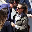Exclusif - La chanteuse Lorie (Laure Pester) et un ami dans les tribunes des internationaux de France de tennis de Roland Garros à Paris le 28 mai 2019. © Jacovides-Moreau/Bestimage