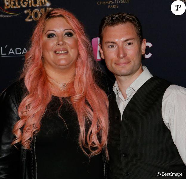 """Loana et son compagnon Frédéric Cauvin - Photocall """"Top Model Belgium"""" au Lido à Paris."""