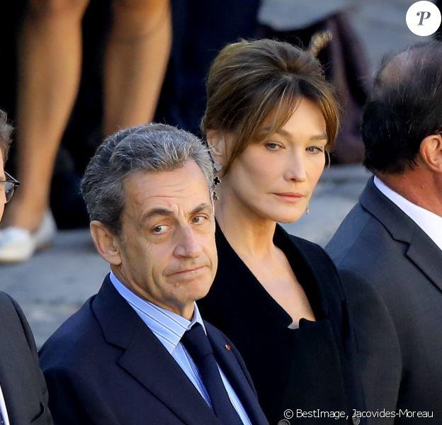 Nicolas Sarkozy, Carla Bruni Sarkozy - Arrivées à l'hommage national à Charles Aznavour à l'Hôtel des Invalides à Paris. © Jacovides-Moreau / Bestimage