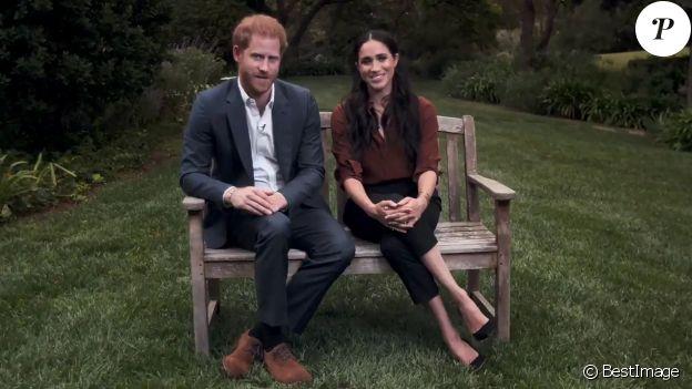Le prince Harry, duc de Sussex, et Meghan Markle, duchesse de Sussex en pleine interview pour TIME 100 television ABC, le 23 septembre 2020. Le couple a appelé les Américains à voter lors des prochaines élections présidentielles.