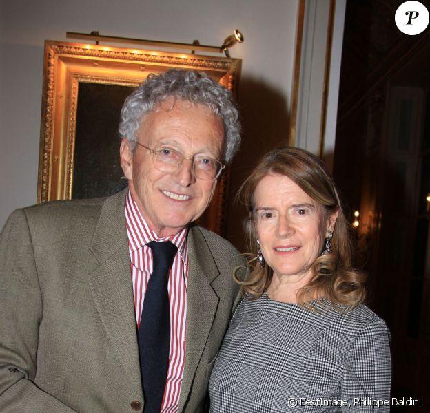 Exclusif - Nelson Monfort et sa femme Dominique lors du cocktail champagne Napoléon au palais Vivienne à Paris, France. © Philippe Baldini/Bestimage