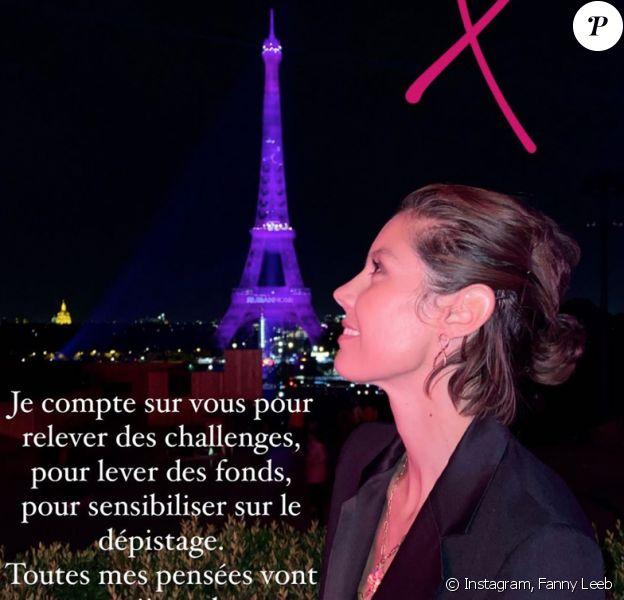 Fanny Leeb assiste à l'illumination en rose de la Tour Eiffel à Paris pour fêter le coup d'envoi d'Octobre Rose.