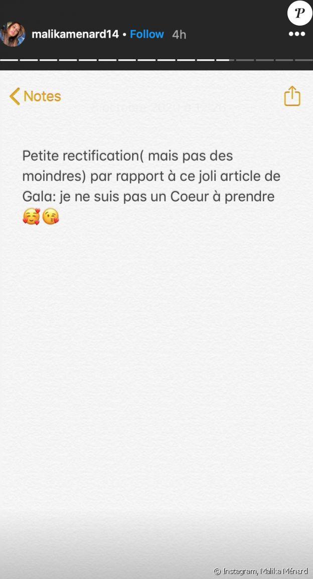 """Malika Ménard n'est """"pas un coeur à prendre"""", une précision faite dans sa story Instagram du jeudi 8 octobre 2020."""