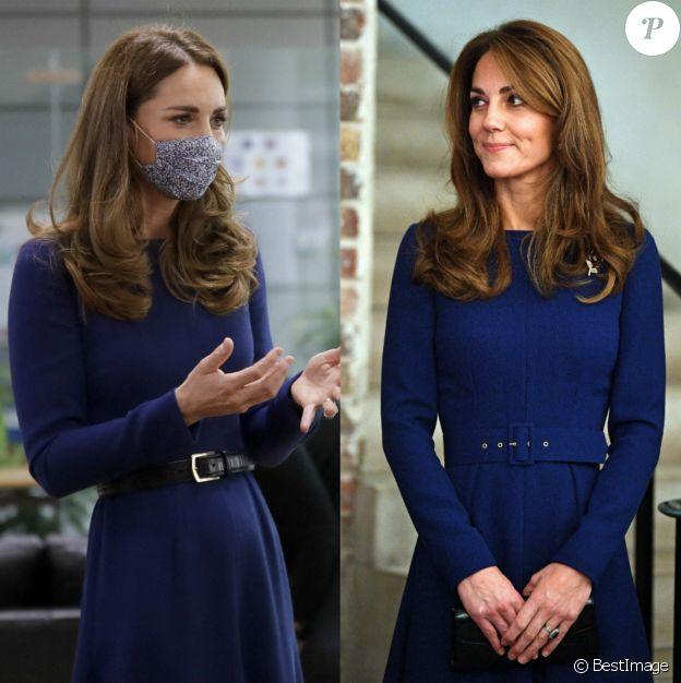 Kate Middleton recycle sa robe bleue Emilia Wickstead lors d'une sortie à l'Imperial College de Londres, le 14 octobre 2020. Elle l'avait déjà portée en novembre 2019.