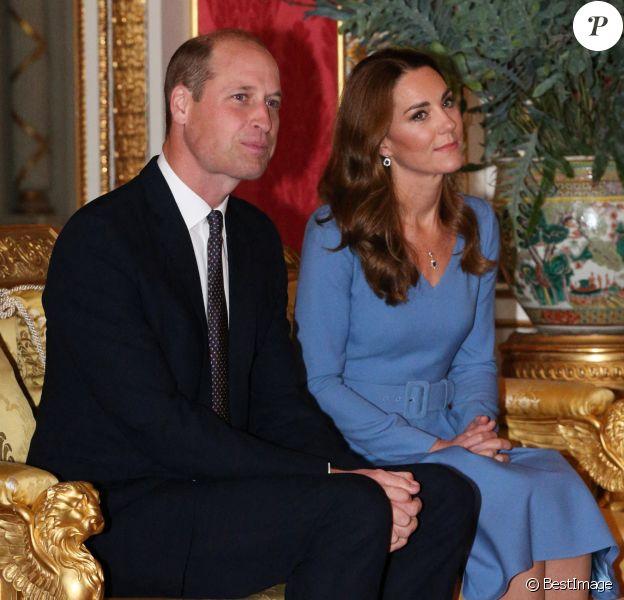 Le prince William, duc de Cambridge, et Kate Middleton, duchesse de Cambridge, reçoivent le président d'Ukraine, Volodymyr Zelensky et sa femme Olena à Buckingham Palace à Londres