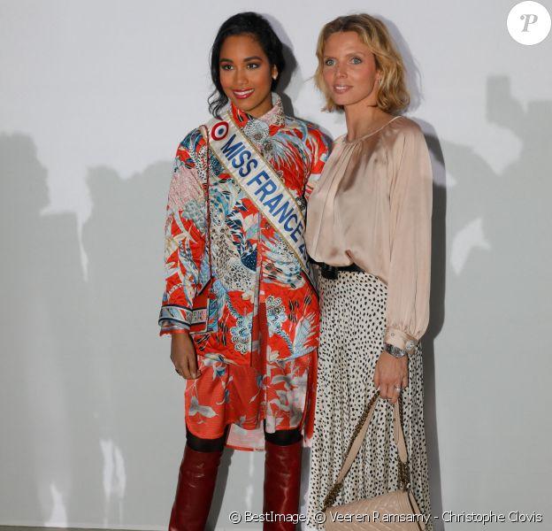 Clémence Botino (Miss France) et Sylvie Tellier - Arrivées au défilé de mode prêt-à-porter Leonard à Paris. © Veeren Ramsamy - Christophe Clovis / Bestimage