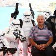 """David Prowse, robots et Dark Vador """"Star Wars"""" - Photocall du film """"I am your father"""" lors du 48ème Festival de Film Fantastique de Sitges à Sitges, le 12 octobre 2015."""