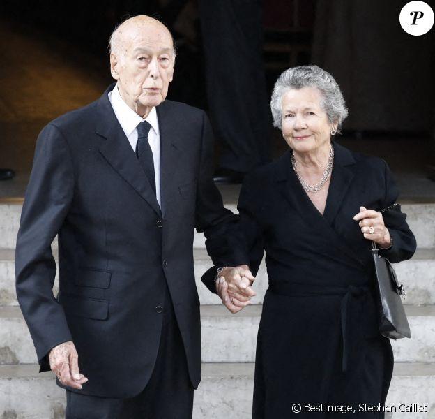 Valéry Giscard d'Estaing et sa femme Anne-Aymone Giscard d'Estaing lors des obsèques de Liliane Bettencourt à Neuilly sur Seine © Stephen Caillet / Panoramic / Bestimage