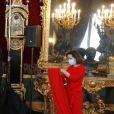 Le roi Felipe VI d'Espagne et la reine Letizia assistent à la réception des voeux aux personnels militaires au palais royal à Madrid. Le 6 janvier 2021.