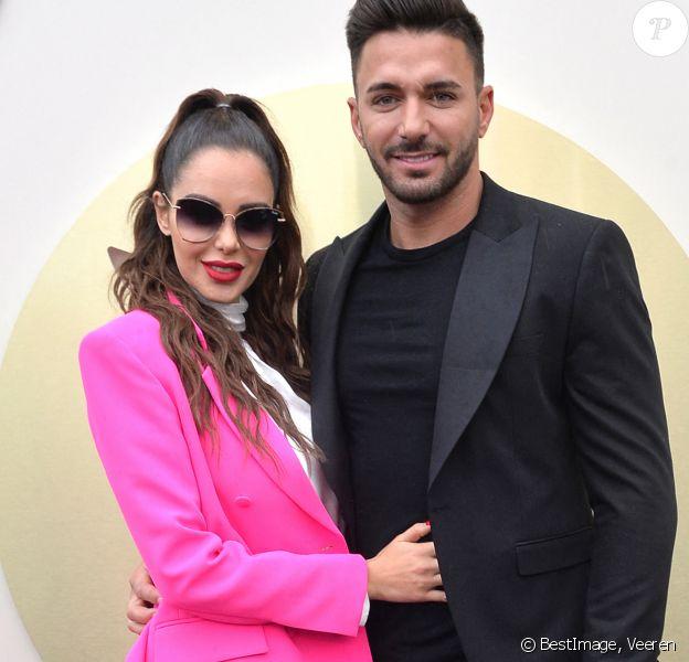 Nabilla Benattia (enceinte) et son mari Thomas Vergara - Nabilla Benattia présente sa collaboration pour les lunettes Quay Australia sur la plage Magnun lors du 72ème Festival International du Film de Cannes. ©Veeren / Bestimage