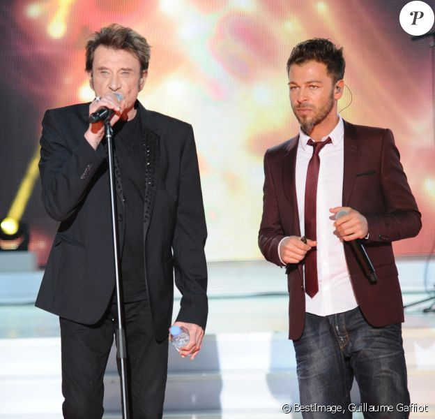 Johnny Hallyday et Christophe Maé - Enregistrement de l'émission Champs Elysées, au Studio Gabriel à Paris © Guillaume Gaffiot /Bestimage