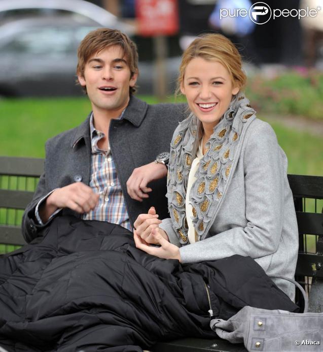 Blake Lively et Chace Crawford sur le tournage de la saison trois de  Gossip Girl , le 14 octobre 2009