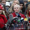 Rose McGowan, Rosanna Arquette et Lauren Sivan lors d'une la conférence de presse - Le procès pour viols et agressions sexuelles d'H.Weinstein s'est ouvert à New York City, New York, Etats-Unis, le 6 janvier 2020.