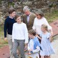 Le roi Philippe, la reine Mathilde, le prince Gabriel, la princesse Elisabeth, le prince Emmanuel et la princesse Eleonore de Belgique - La famille Royale de Belgique visite la ville de Villers-la-Ville lors de leurs vacances en Belgique le 24 juin 2018