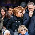 Léa Salamé et son compagnon Raphaël Glucksmann - Obsèques de Sébastien Demorand à la Coupole du crématorium du cimetière du Père-Lachaise à Paris, France, le 31 janvier 2020.