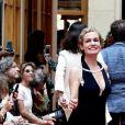 """Sandrine Bonnaire - Défilé """"Over Fifty... et alors !"""" à la galerie Vivienne à Paris le 17 Juin 2019. © Dominique Jacovides/Bestimage"""