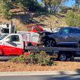 La voiture du golfeur Tiger Woods détruite après son dramatique accident en Californie, mardi 23 février 2021. Crédit photo : Keiran Southern/PA Wire.