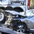Illustration de la voiture SUV de Tiger Woods après l'accident - Tiger Woods victime d'un accident de voiture : le golfeur hospitalisé.