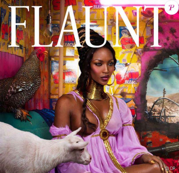 Naomi Campbell en couverture du magazine Flaunt, version censurée