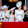 """Camilla Parker Bowles, duchesse de Cornouailles, Kate Catherine Middleton, duchesse de Cambridge, le prince Harry, duc de Sussex et Meghan Markle, duchesse de Sussex - Les membres de la famille royale britannique lors du rassemblement militaire """"Trooping the Colour"""" (le """"salut aux couleurs""""), célébrant l'anniversaire officiel du souverain britannique."""
