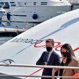 """Exclusif - Le prince Albert II de Monaco et sa famille lors du baptême de la navette Monaco One qui reliera les ports de Monaco et Vintimille, à Monaco, le 8 mars 2021. La navette maritime """"Monaco One"""" ralliera Monaco à Vintimille en dix minutes. © Bruno Bebert/ PRM / Bestimage"""
