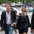 """Le prince Emmanuel Philibert de Savoie et son epouse Clotilde Courau - People arrivant au defile Haute-Couture Automne-Hiver 2013/2014 """"Armani Prive"""" au Palais de Chaillot a Paris, le 2 juillet 2013."""