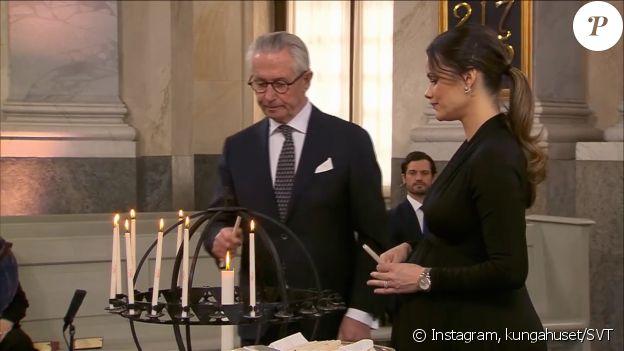 La princesse Sofia de Suède (enceinte) lors de la cérémonie hommage aux victimes de la Covid-19, le 11 mars 2021 au château Drottningholms.