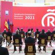 """Le roi Felipe VI et la reine Letizia d'Espagne assistent à la 9e édition des """"Honorary Ambassadors of the Brand Spain"""" au palais royal à Madrid, Espagne, le 15 mars 2021."""
