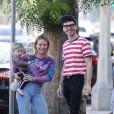 Exclusif - Hilary Duff avec son fiancé Matthew Koma et leur fille Banks, se promènent à Los Angeles, le 13 octobre 2019.