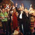 """Nelson Monfort, Pépita, Patrick Sébastien, C. Jérome, Mareva Galanter, Sandy Valentino - Enregistrement de l'émission """"Le plus grand cabaret du monde"""" à Paris."""