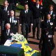 Le prince Charles, prince de Galles, le prince Andrew, duc d'York, le prince William, duc de Cambridge, Peter Phillips, la princesse Anne, le prince Edward, comte de Wessex, le prince Harry, duc de Sussex - Arrivées aux funérailles du prince Philip, duc d'Edimbourg à la chapelle Saint-Georges du château de Windsor, le 17 avril 2021.