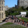 Le prince Charles, prince de Galles, le prince Andrew, duc d'York, le prince William, duc de Cambridge, David Armstrong-Jones, comte de Snowdon, Peter Phillips, la princesse Anne, le prince Edward, comte de Wessex, le prince Harry, duc de Sussex, Sir Timothy Laurence - Arrivées aux funérailles du prince Philip, duc d'Edimbourg à la chapelle Saint-Georges du château de Windsor, le 17 avril 2021.