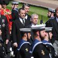 Le prince William, duc de Cambridge, Peter Phillips, Sir Timothy Laurence, le prince Andrew, duc d'York, le prince Harry, duc de Sussex - Arrivées aux funérailles du prince Philip, duc d'Edimbourg à la chapelle Saint-Georges du château de Windsor, le 17 avril 2021.