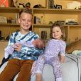 Luca, Banks Violet et leur petite soeur Mae, les trois enfants de Hilary Duff. Avril 2021.
